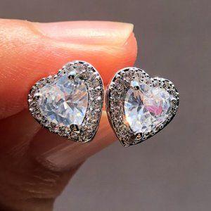 NEW Heart Diamond Halo Stud Earrings